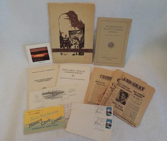 Large Lot of Vintage Washington State Ephemera.. 1911 - 40's.. Lumber, Hood Canal, State College & More