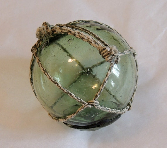 Vintage Japanese Glass FISHING FLOAT Net, Moss Green & Makers Button Seal Mark (#61)