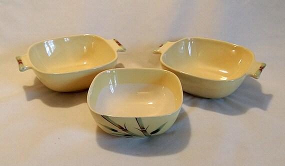 """3 Grant Weil Ware Bambu Square Bowls.. 4.75"""" & 2 Lug Handle.. Bamboo Yellow"""