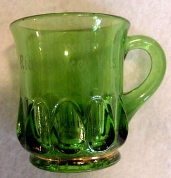 Vintage Green Depression Glass Souvenir Mug.. RICE LAKE WISCONSIN