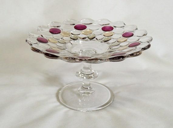Vintage Pedestal Bubble Glass Comport With 3 Colors.. Unique!
