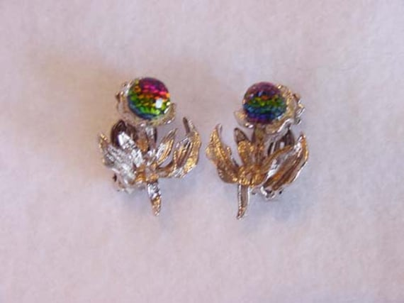 Vintage Clip Earrings In Shape of Flower... Aurora Borealus Crystal
