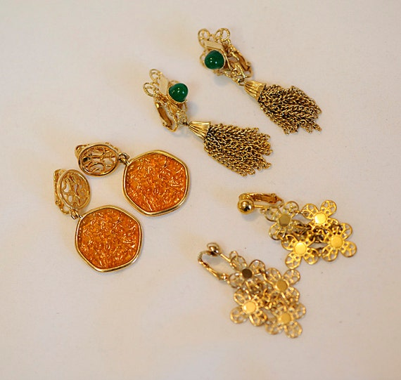 3 pair 1970's Sarah Coventry Drop Dangle Clip Earrings.. Honey, Petals, Filigree & Tassel