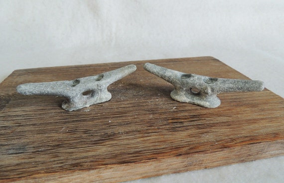 "Vintage Matched Pair 4"" Cast Metal Boat Cleats, Tie Downs, Marine Hardware (#9)"