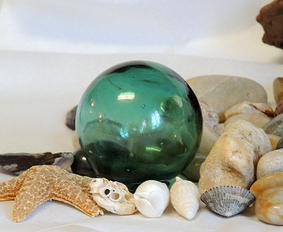 Vintage Japanese 2.5 Inch Glass Fishing Float.. Rare Emerald Green & Mark (#2)