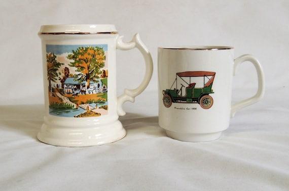 Two Vintage Mustache Cups / Mugs.. Rural Scene & 1908 Franklin Automobile