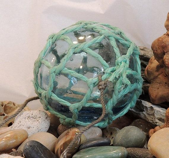 Vintage Japanese Glass FISHING FLOAT.. Full Net, Makers Mark, Sky Blue   (#66)