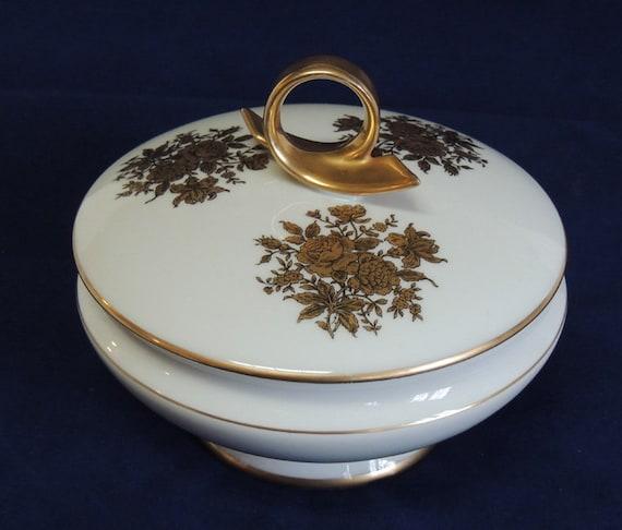 Vintage Gerold Porzellan Candy / Trinket Dish.. Lid With Gold Handle