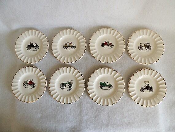 """Eight  6"""" Plates.. Antique Automobile Car Design.. Gold Trim.. Vintage Auto Set"""