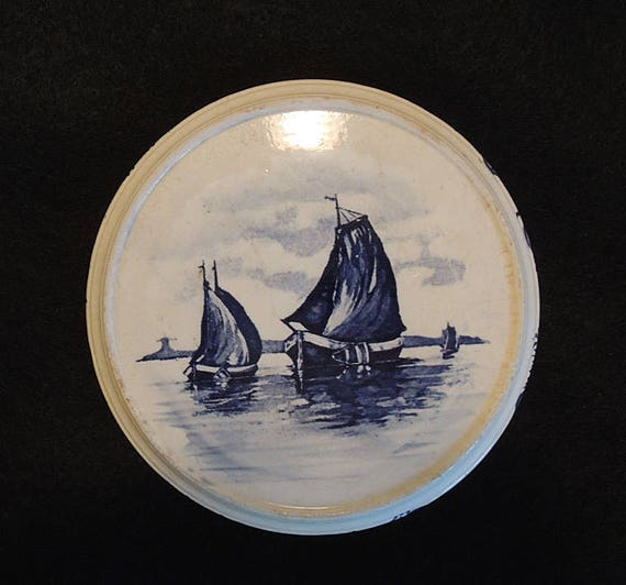 Antique Delft Pottery Teapot Stand Trivet Tile.. Blue Sailboats