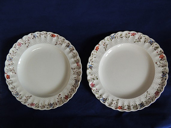 2 Vintage COPELAND SPODE Wicker Dale Dinner Plates.. Old Mark