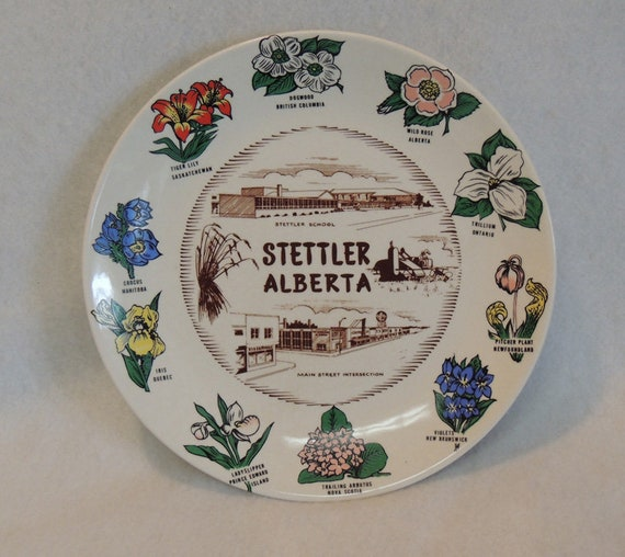 Vintage Stettler Alberta Canada Souvenir Plate..  Provincial Flowers on Border