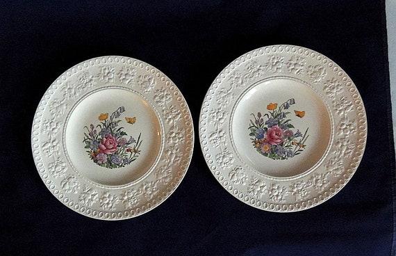 "2 Wedgwood Wellesley TINTERN 9.5"" Luncheon Plates.. Vintage England Pattern AL9460 (#1)"