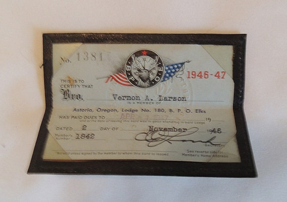 1946 Order Of Elks Membership Card With Leather Case Astoria OR B.P.O.E. Lodge No. 180