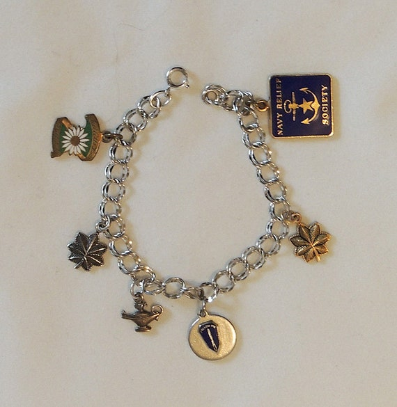 Vintage Sterling Silver Double Link Charm Bracelet.. Army Navy