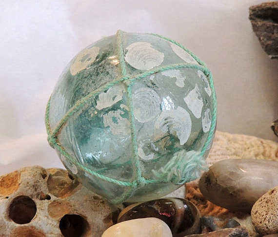 Vintage Japanese Glass Fishing Float.. Small 2.5 Inch.. net & Surface Deposits (#19)