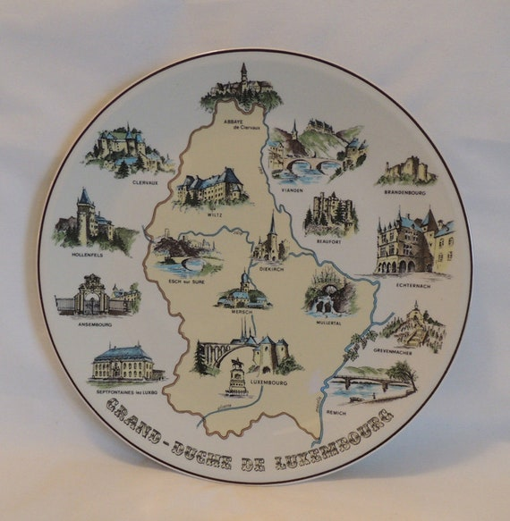 "Vintage VILLEROY & BOCH Decorative 10.25""  Map Plate.. Souvenir Locations"