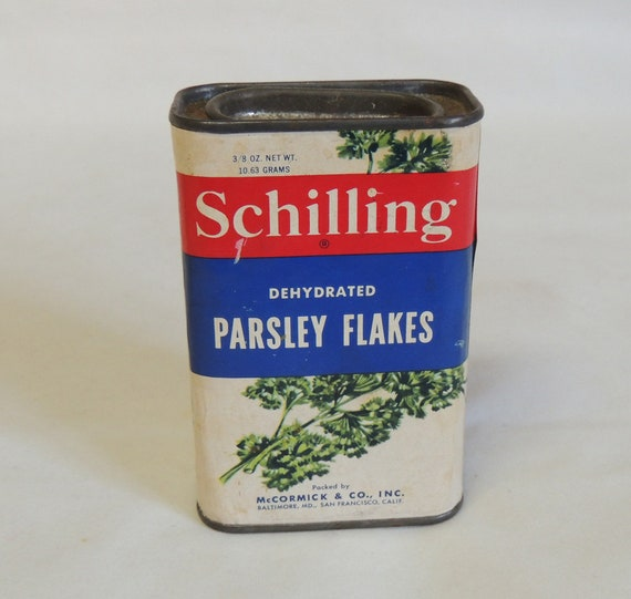 Vintage Schilling Spice Tin.. Parsley Flakes.. 1950s-60s.. With Some Contents