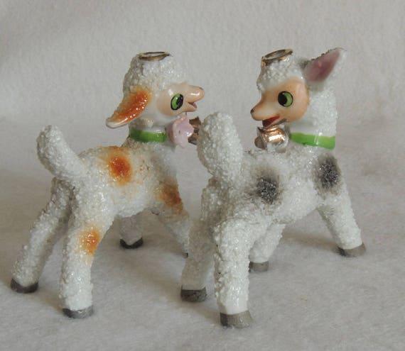 Pair of Vintage 1950's Salt Glazed Anthropomorphic Textured Lamb / Sheep  Figurines
