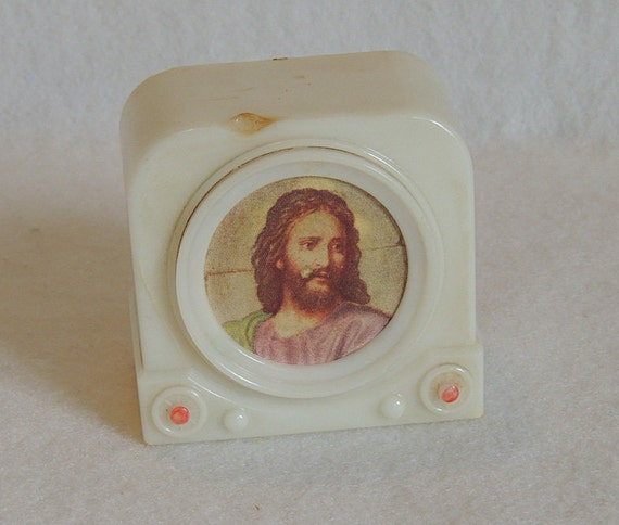 Kitschy Vintage Mid Century Plastic Television TV Bank With Jesus Screen Picture