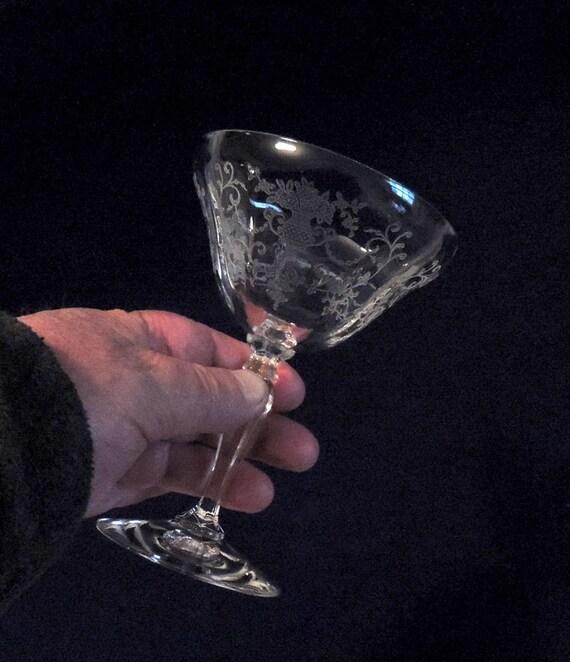 Fostoria Glass Florentine Etch 1930s-40s Champagne / Tall Sherbet Stem Goblet 6 oz. (#2)