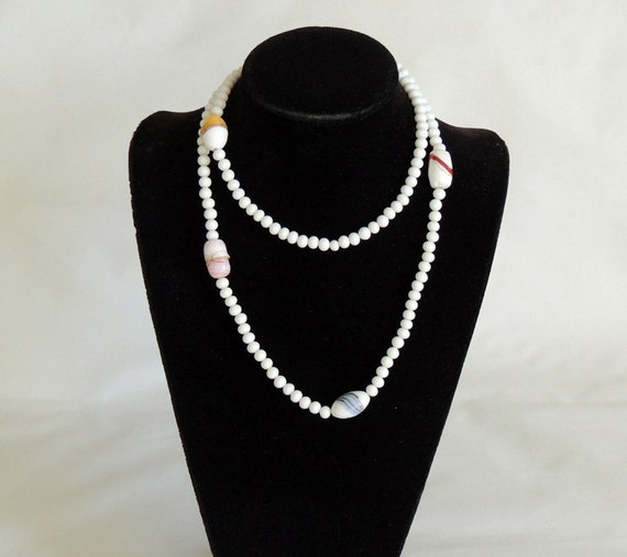 Vintage Milk Glass Beads Flapper Necklace.. 36 Inches