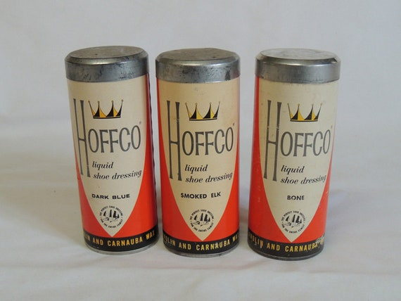 Lot Of 3 Vintage Hoffco Shoe Dressing.. Bottles + Canisters.. 6 Pieces Total