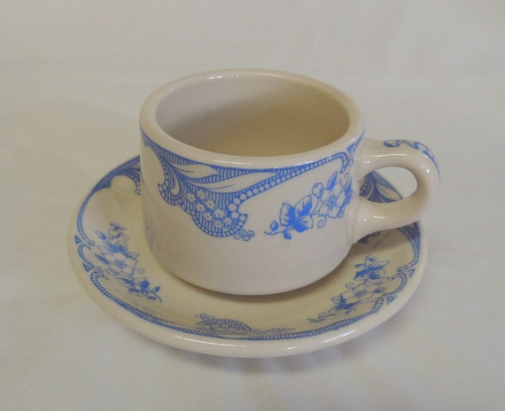 Vintage Shenango China Rose Point Blue Restaurant Ware Cup and Saucer (#4)