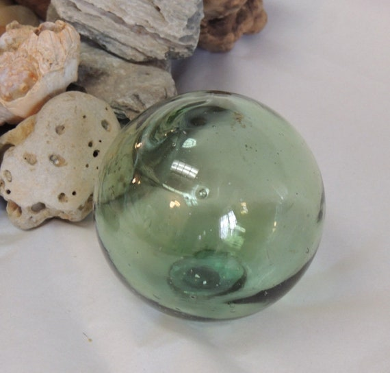 Vintage Japanese GLASS FISHING FLOAT.. Moss Green. Bubbles & Striations (#42)