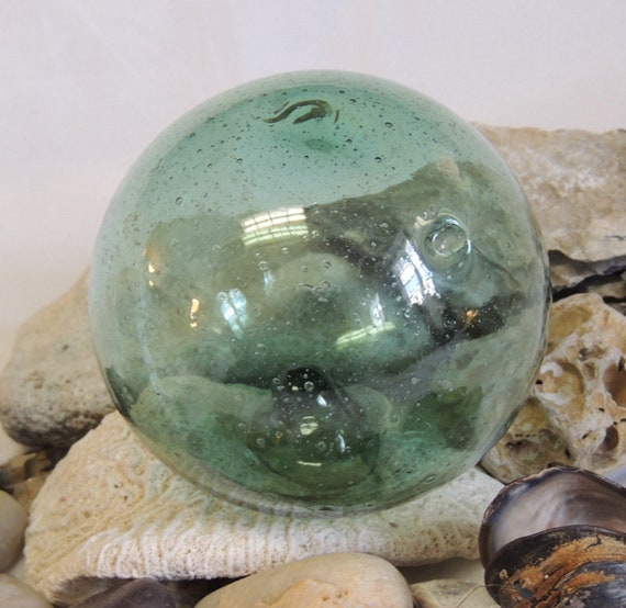 """Vintage 13"""" In Circumference Japanese GLASS FISHING FLOAT Bubbles & embedded  Matter (#76)"""