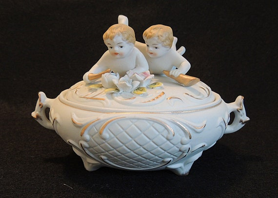 Vintage Bisque Porcelain Putti Twins Covered Bowl.. Hand Painted Cupid Dish