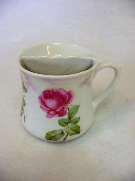 Victorian Porcelain Shaving Mug.. Rose & Pansy Floral Design.. Germany