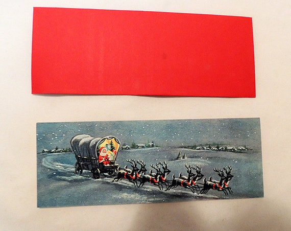 Vintage Mid-Century Unused Christmas Card & Env.. Santa In Covered Wagon W Reindeer.. Glitter Mica.. Rare