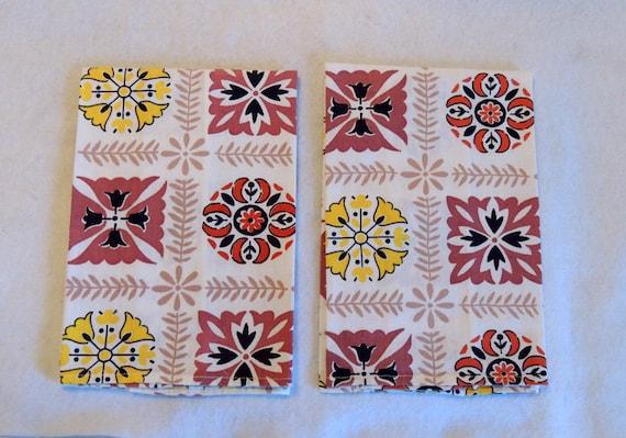 2 Vintage Handmade Dish Tea Towels..  1960s-70s Mid Century Print Dish Towels