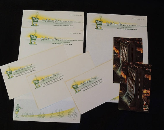 9 Pieces 1960s Holiday Inn Stationery & Envelopes Paper Ephemera Plus Postcards.. San Francisco CA (Lot #7)