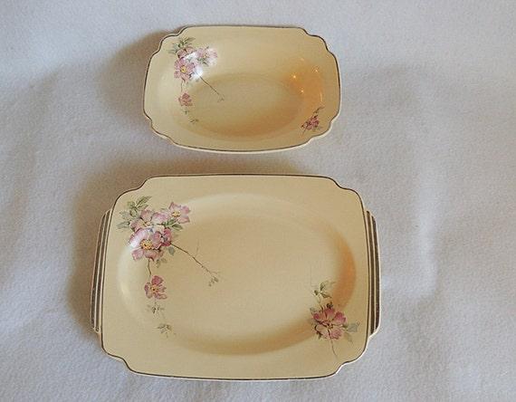 """Vintage 1930s Homer Laughlin Century Briar Rose 9"""" Veg Bowl & 11.5"""" Platter"""