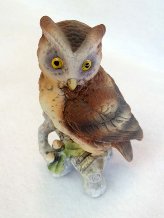 Vintage Bisque Hand Painted LEFTON OWL FIGURINE / Figure