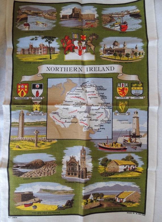 Northern Ireland Linen Tea Kitchen Towel.. Map & Landmarks.. Vintage But Unused