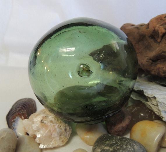 Vintage Japanese GLASS FISHING FLOAT Button Seal Mark, embedded  Matter, Odd Shape (#50)