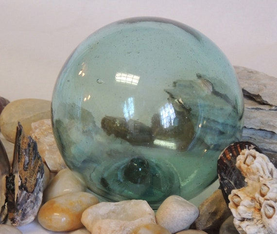 "Vintage  13"" In Circumference Japanese GLASS FISHING FLOAT Bubbles & Striations (#59)"