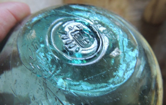 "Vintage 13.5"" In Circumference Japanese GLASS FISHING FLOAT Rare Maker Marks (#30)"