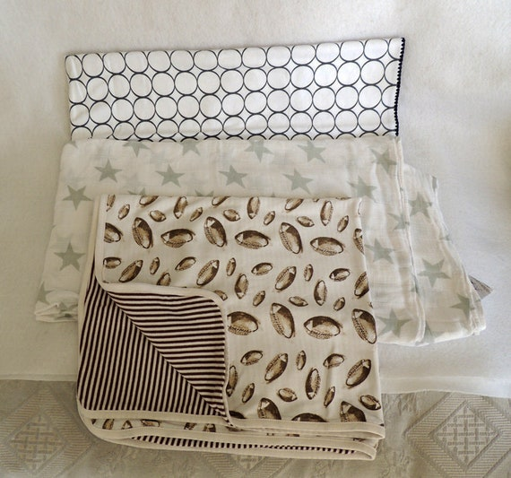 Lot Of 3 Baby Boy Blankets.. Swaddle Designs, Aden & Anais, Mud Pie