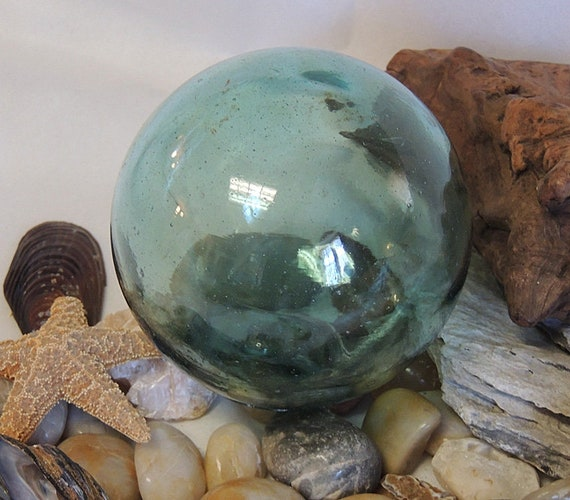 "Vintage 13"" In Circumference Japanese GLASS FISHING FLOAT Rare Mark & embedded  Matter (#21)"
