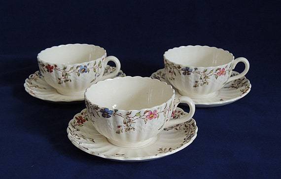 3 Vintage COPELAND SPODE Wicker Dale Cups & Saucers.. Old Mark