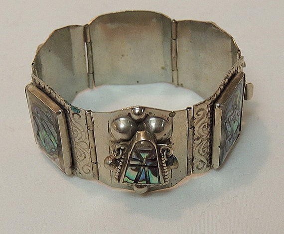 Vintage HECHO MEXICO Sterling Silver & Abalone Shell Native Aztec Mask Bracelet