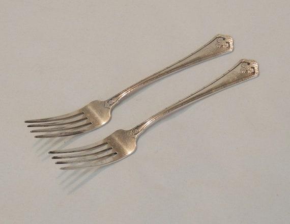 2 Wallace Sterling Silver Carmel Arts & Crafts 1912 DINNER FORKS.. Monogram R (#3)
