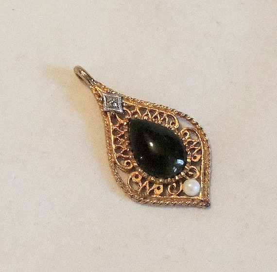 Vintage Jade Diamond Pearl Filigree Pendant