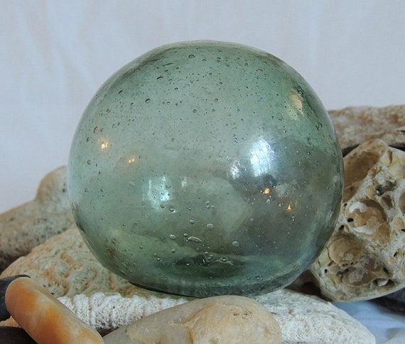 Vintage Japanese GLASS FISHING FLOAT.. Many Bubbles & Sand Etching Frosting  (#5)