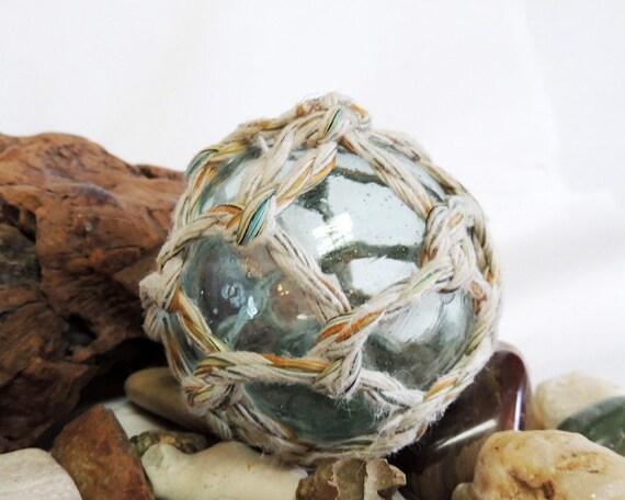 Vintage Japanese Glass Fishing Float.. Net, Moss Green & Bubbles (#7)