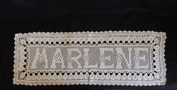 "Vintage Hand Crocheted Runner 42"" x 15"" With Name ""MARLENE"".. Crochet Doily"